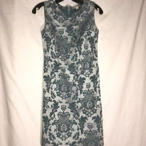 Merona Sz 2 Silver and Teal Embossed Tunic Dress